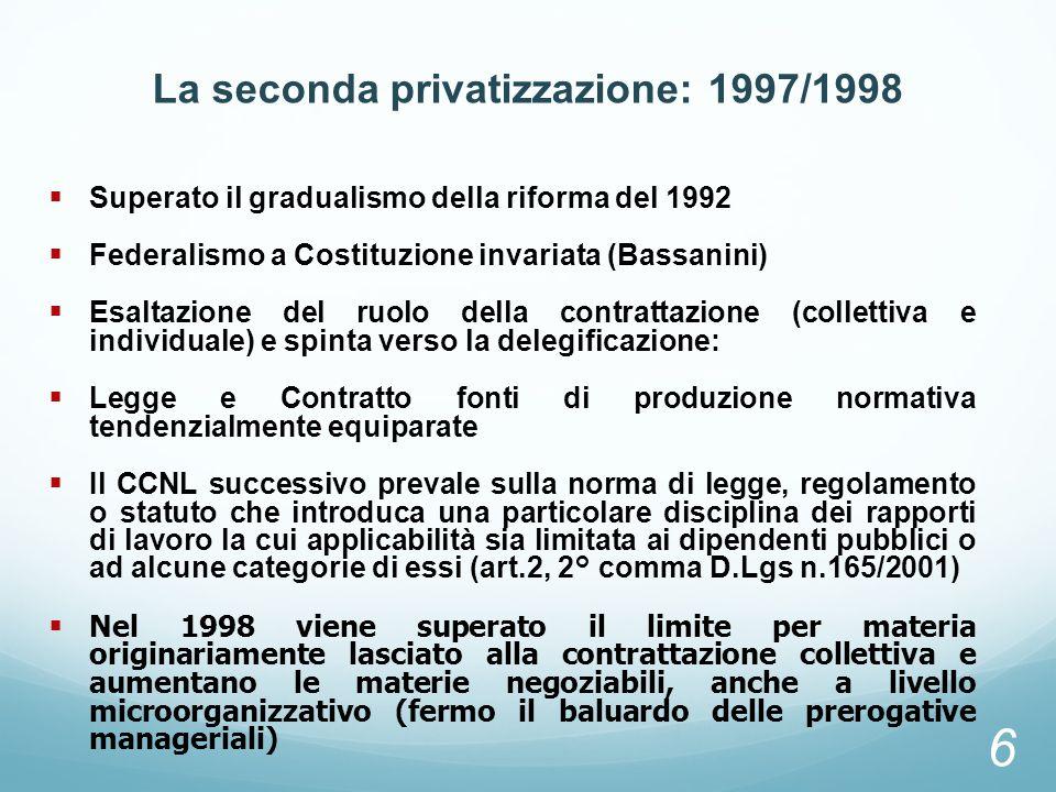 La seconda privatizzazione: 1997/1998