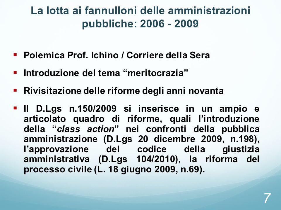 La lotta ai fannulloni delle amministrazioni pubbliche: 2006 - 2009