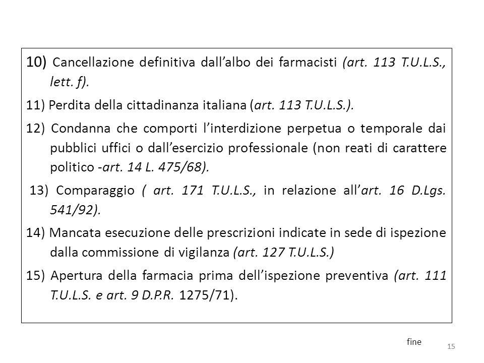 10) Cancellazione definitiva dall'albo dei farmacisti (art. 113 T.U.L.S., lett. f).
