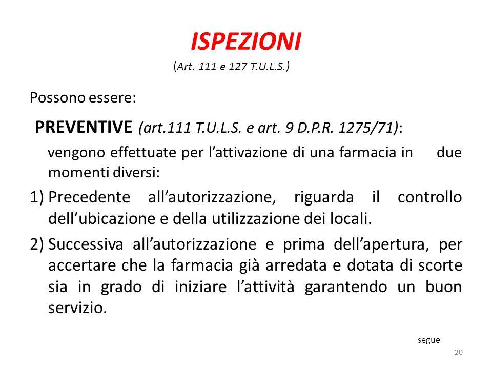 ISPEZIONI PREVENTIVE (art.111 T.U.L.S. e art. 9 D.P.R. 1275/71):