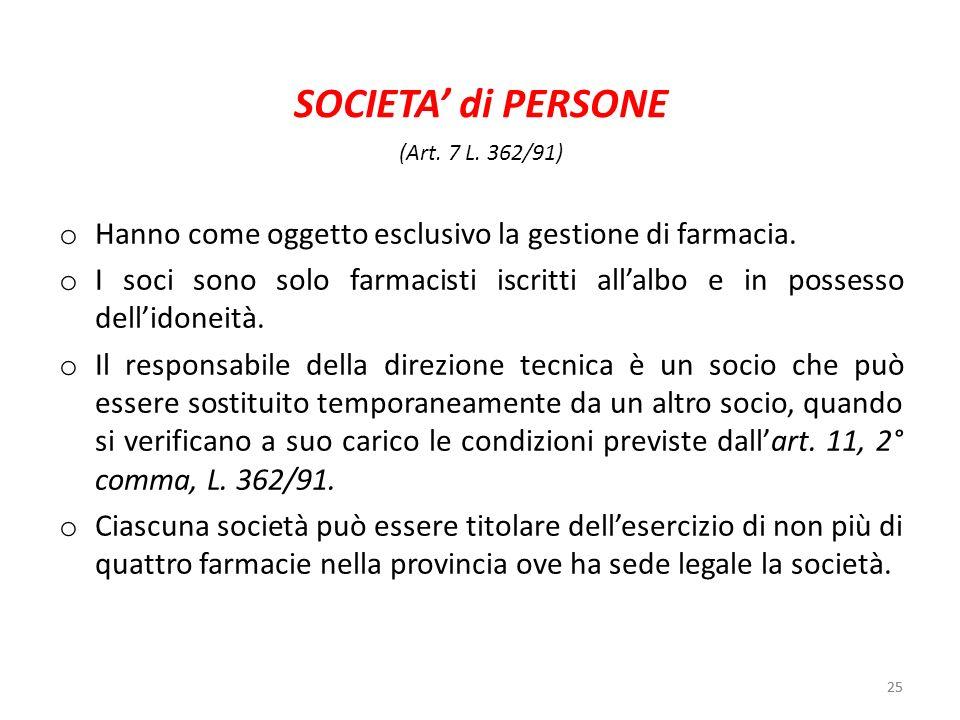 SOCIETA' di PERSONE(Art. 7 L. 362/91) Hanno come oggetto esclusivo la gestione di farmacia.