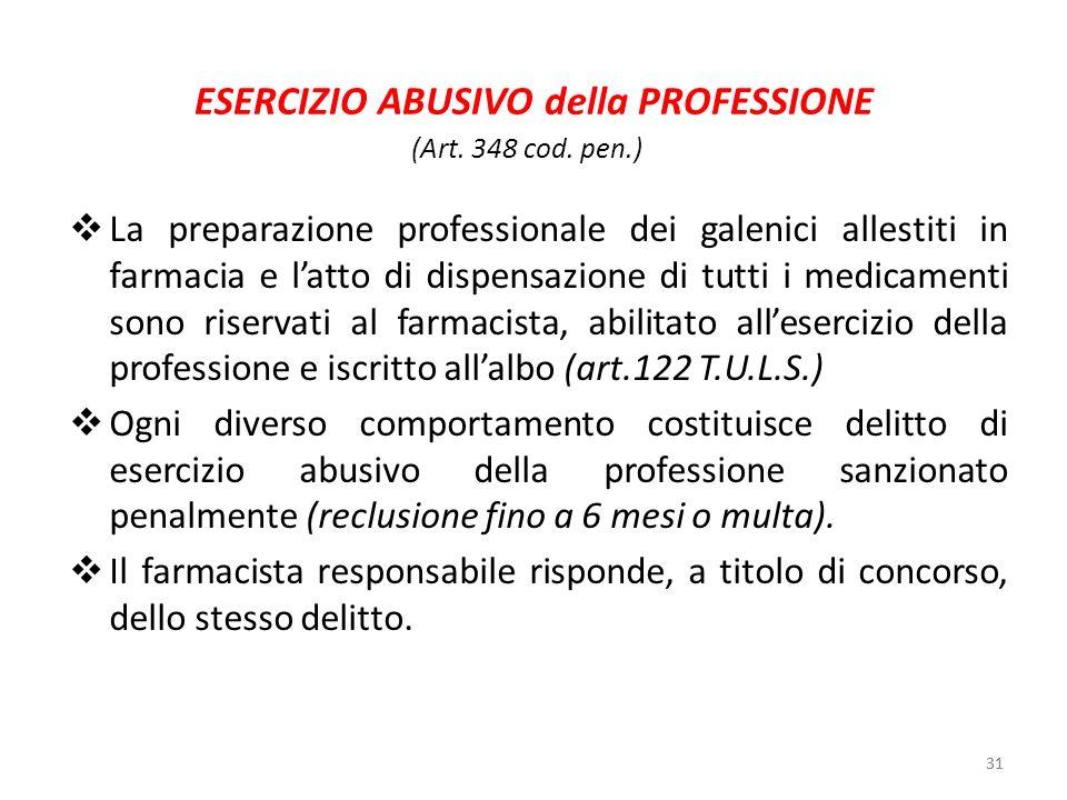 ESERCIZIO ABUSIVO della PROFESSIONE