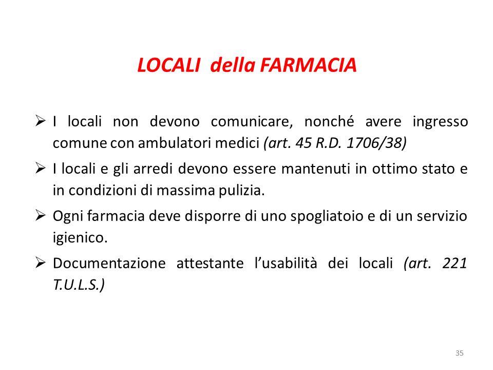 LOCALI della FARMACIA I locali non devono comunicare, nonché avere ingresso comune con ambulatori medici (art. 45 R.D. 1706/38)