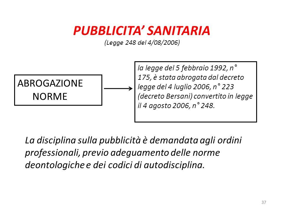 PUBBLICITA' SANITARIA