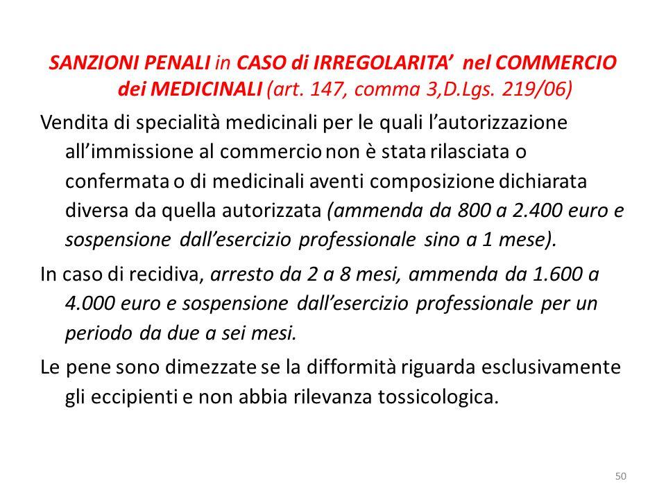 SANZIONI PENALI in CASO di IRREGOLARITA' nel COMMERCIO dei MEDICINALI (art. 147, comma 3,D.Lgs. 219/06)