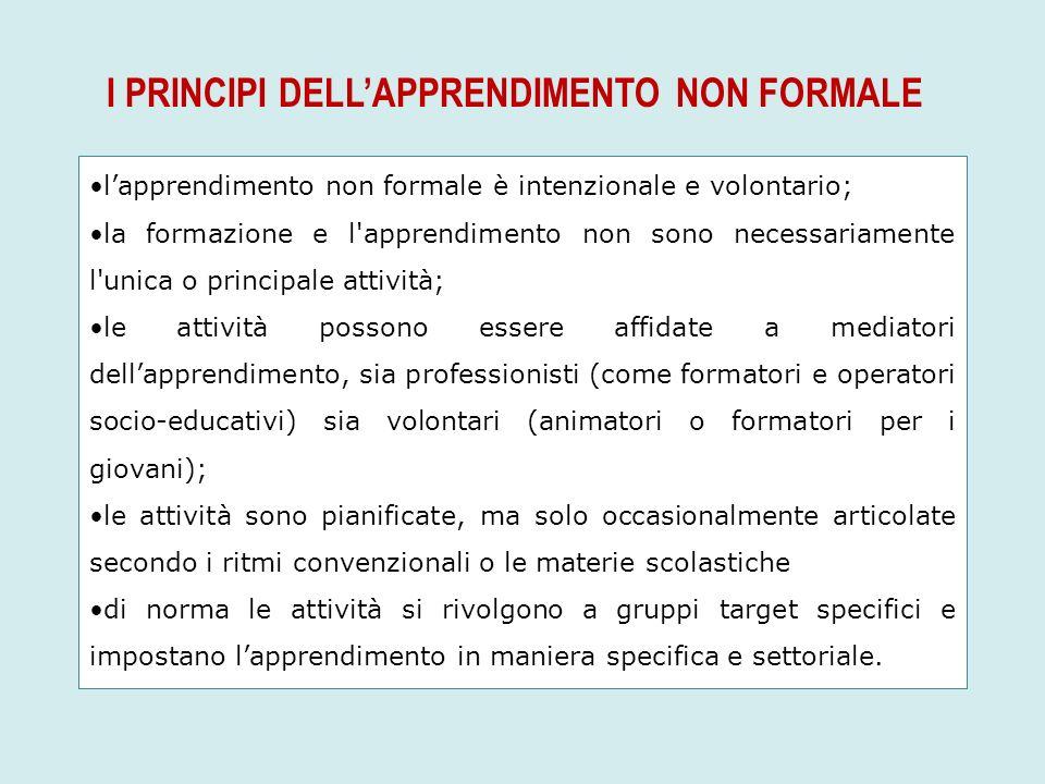 I PRINCIPI DELL'APPRENDIMENTO NON FORMALE