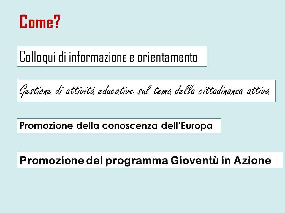 Come Colloqui di informazione e orientamento. Gestione di attività educative sul tema della cittadinanza attiva.