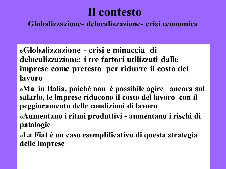 Il contesto Globalizzazione- delocalizzazione- crisi economica
