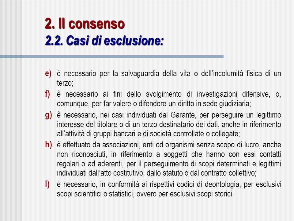 2. Il consenso 2.2. Casi di esclusione: