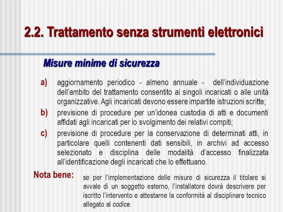 2.2. Trattamento senza strumenti elettronici