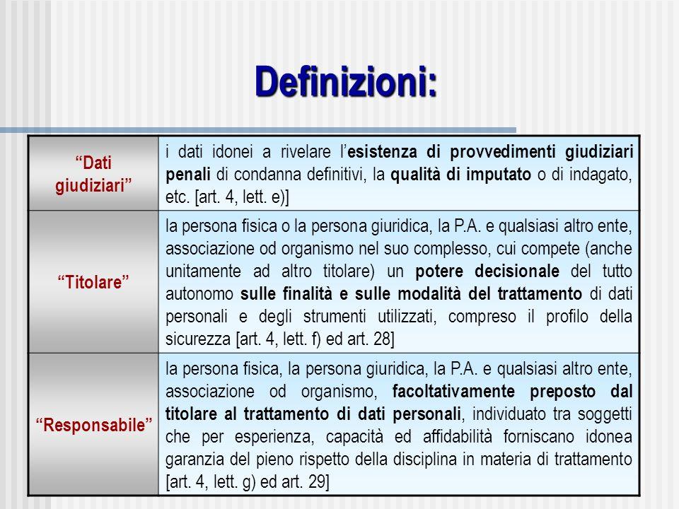 Definizioni: Dati giudiziari