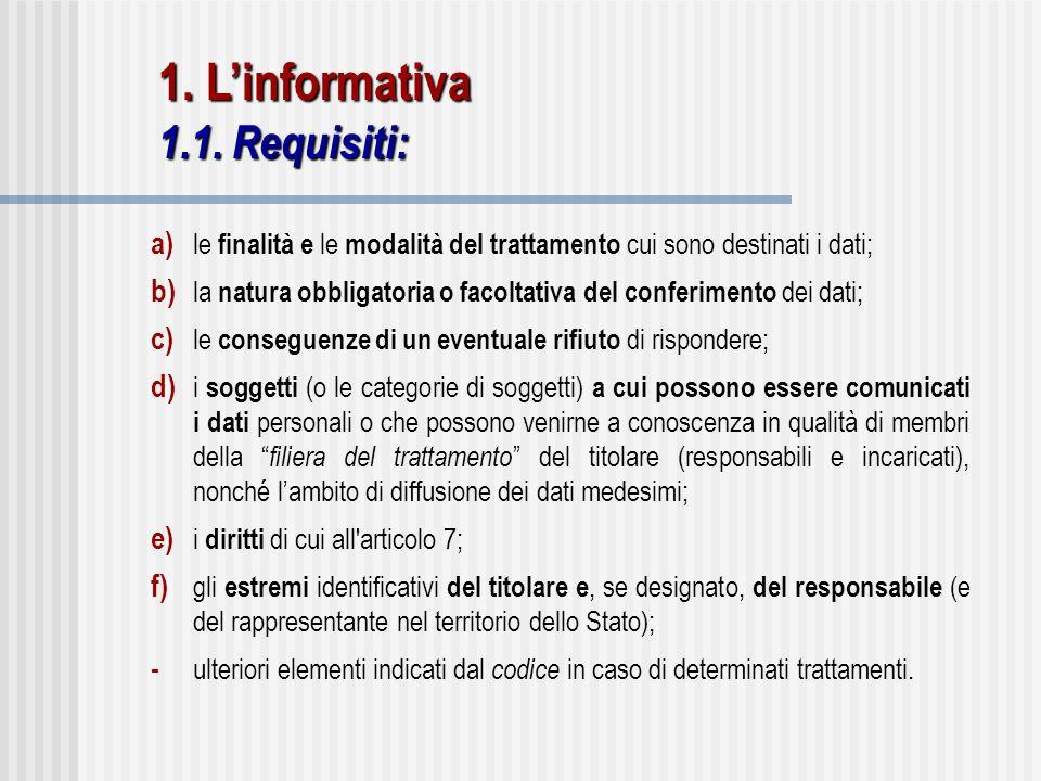1. L'informativa 1.1. Requisiti: