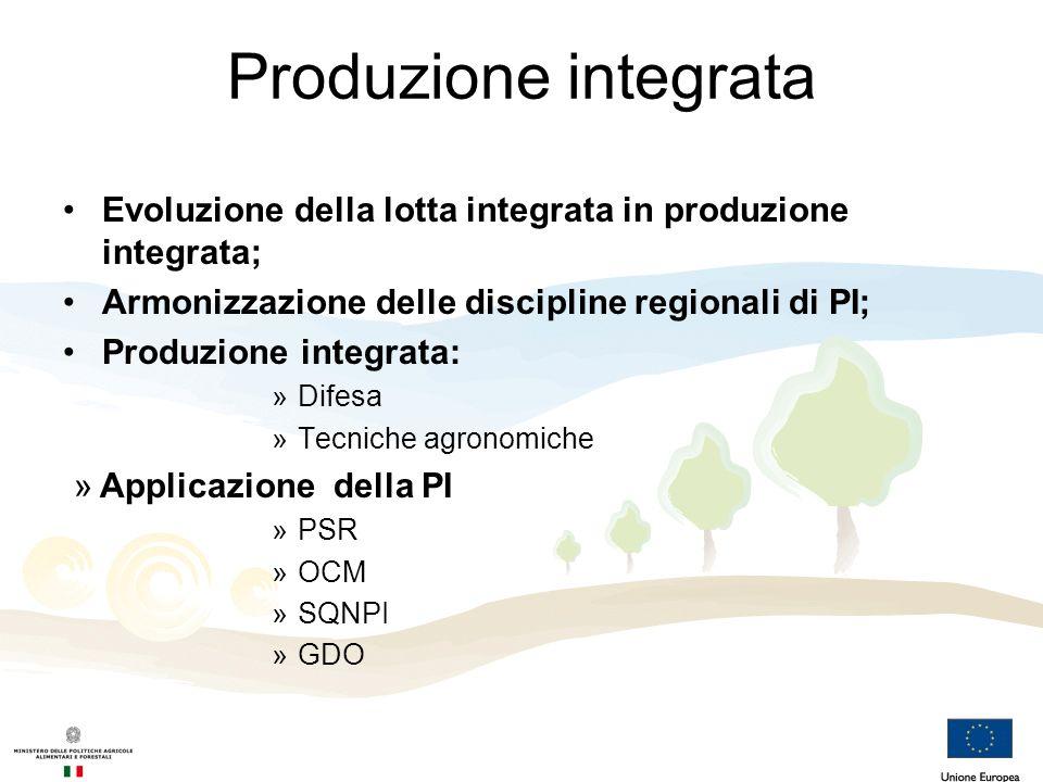 Produzione integrata Evoluzione della lotta integrata in produzione integrata; Armonizzazione delle discipline regionali di PI;