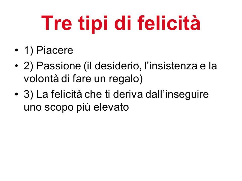 Tre tipi di felicità 1) Piacere