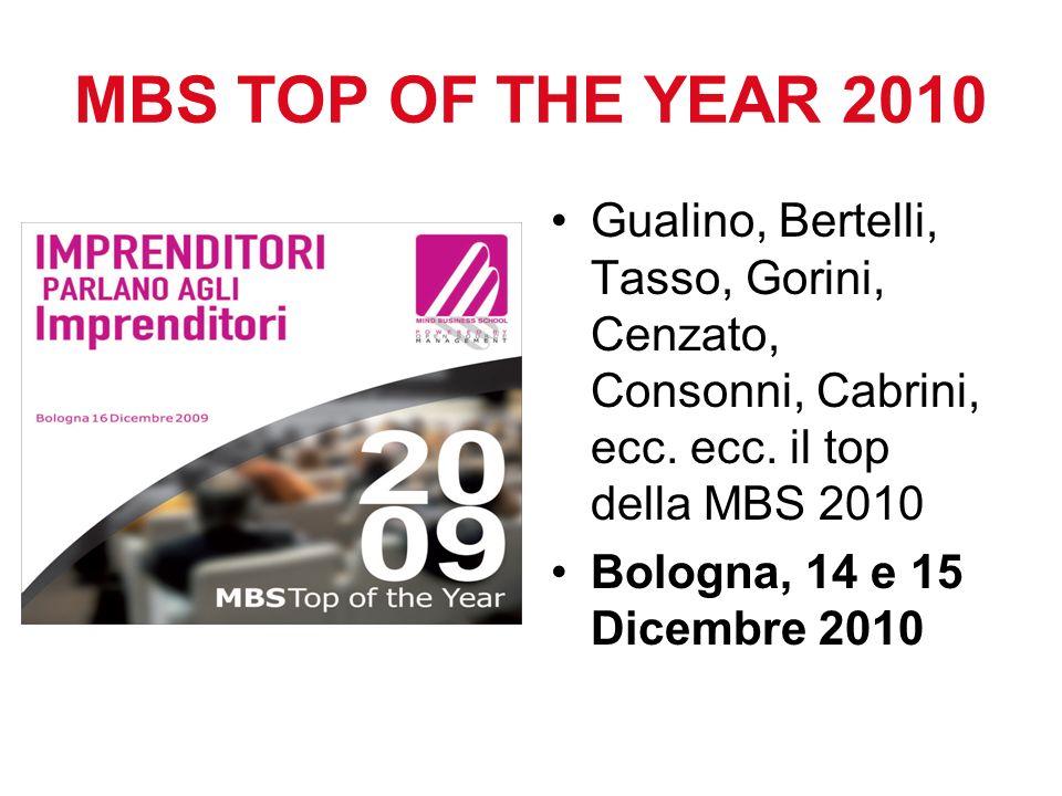 MBS TOP OF THE YEAR 2010 Gualino, Bertelli, Tasso, Gorini, Cenzato, Consonni, Cabrini, ecc. ecc. il top della MBS 2010.