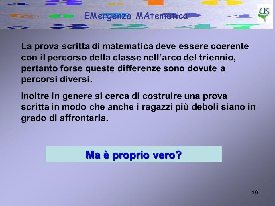 La prova scritta di matematica deve essere coerente con il percorso della classe nell'arco del triennio, pertanto forse queste differenze sono dovute a percorsi diversi.