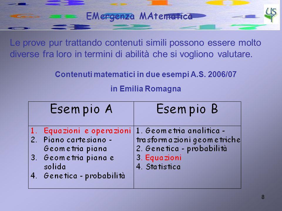 Contenuti matematici in due esempi A.S. 2006/07