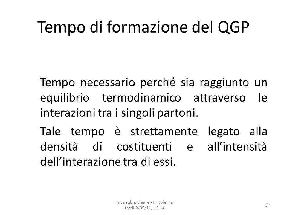 Tempo di formazione del QGP