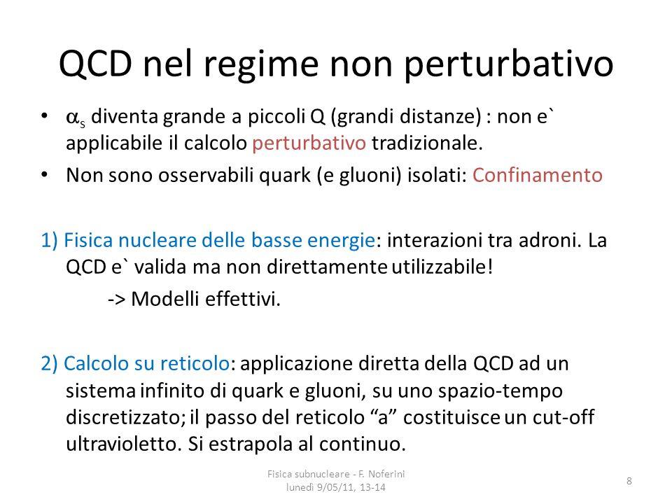 QCD nel regime non perturbativo