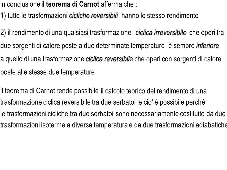 in conclusione il teorema di Carnot afferma che :