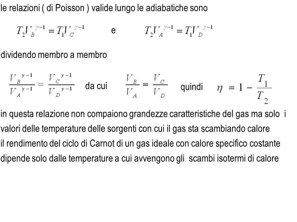 le relazioni ( di Poisson ) valide lungo le adiabatiche sono