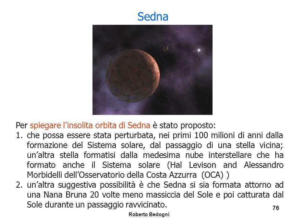 Sedna Per spiegare l'insolita orbita di Sedna è stato proposto: