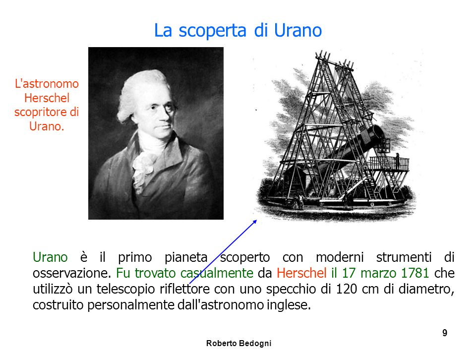 L astronomo Herschel scopritore di Urano.