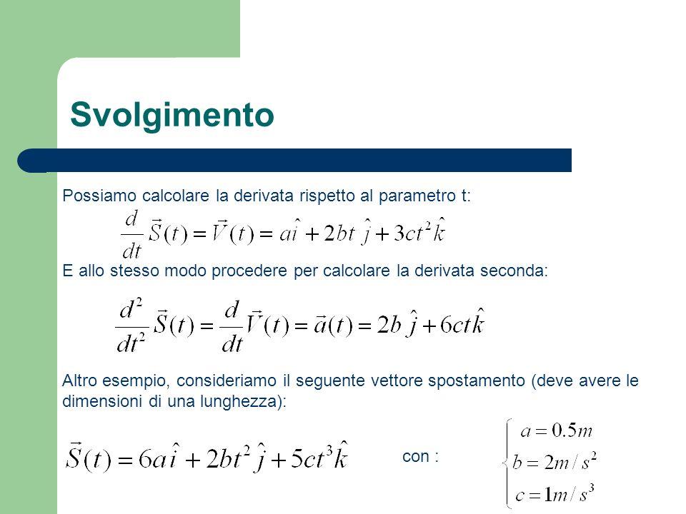 Svolgimento Possiamo calcolare la derivata rispetto al parametro t: