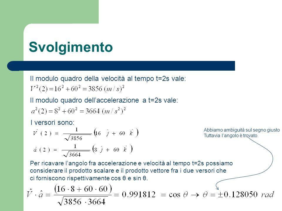 Svolgimento Il modulo quadro della velocità al tempo t=2s vale: