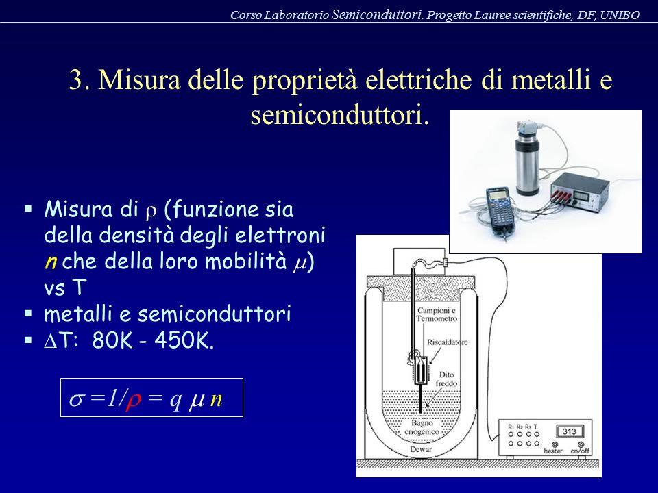 3. Misura delle proprietà elettriche di metalli e semiconduttori.
