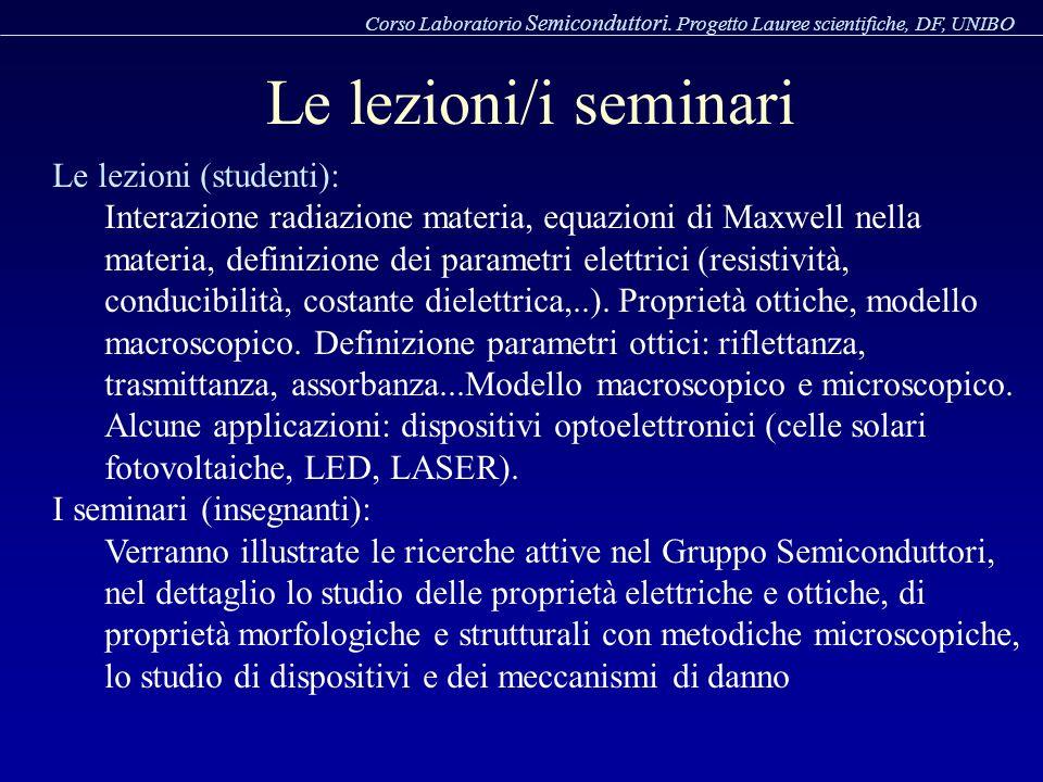 Le lezioni/i seminari Le lezioni (studenti):
