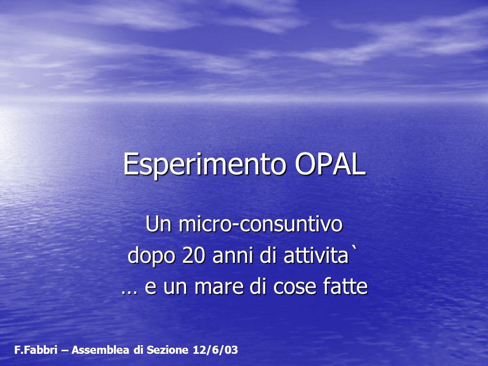 Esperimento OPAL Un micro-consuntivo dopo 20 anni di attivita`
