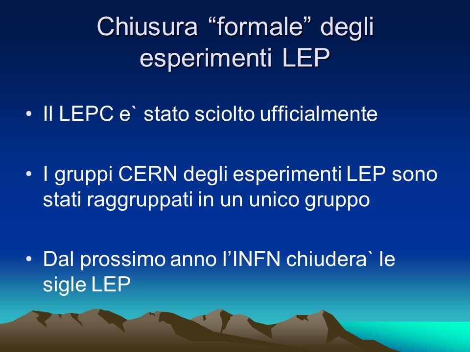 Chiusura formale degli esperimenti LEP