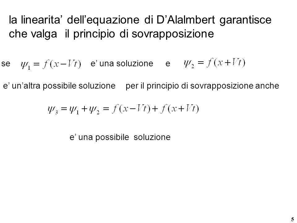 la linearita' dell'equazione di D'Alalmbert garantisce che valga il principio di sovrapposizione