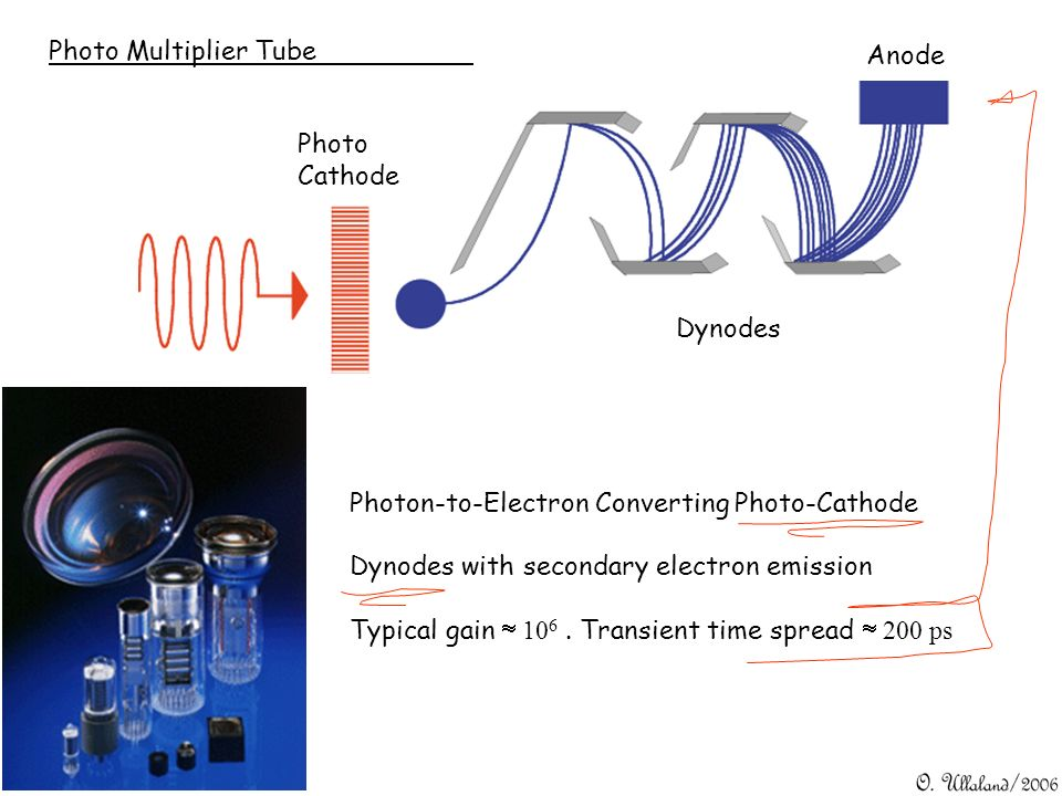 Photo Multiplier TubeAnode. Photo. Cathode. Dynodes. Photon-to-Electron Converting Photo-Cathode. Dynodes with secondary electron emission.