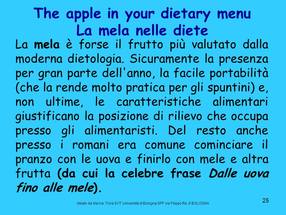 The apple in your dietary menu La mela nelle diete