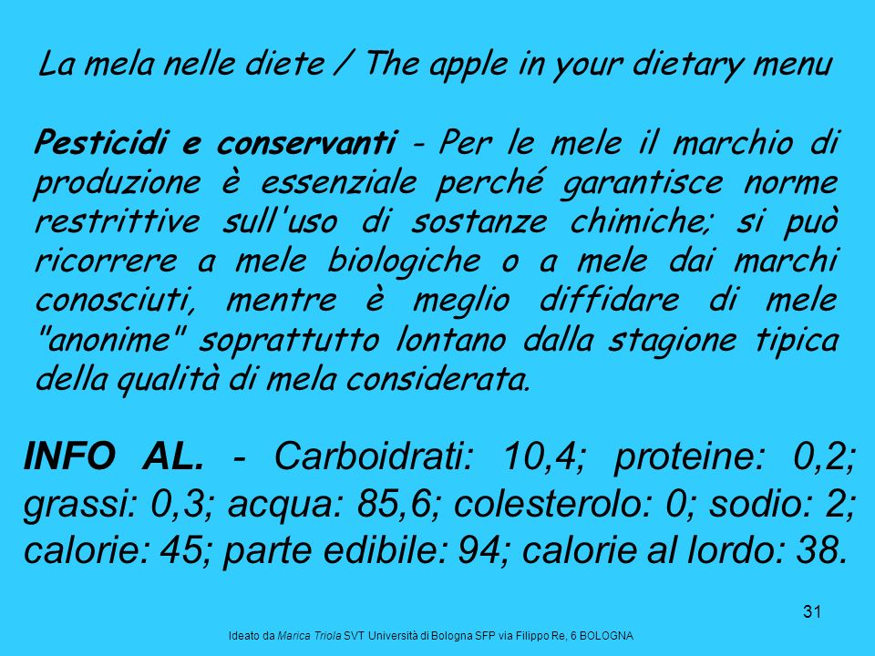 La mela nelle diete / The apple in your dietary menu
