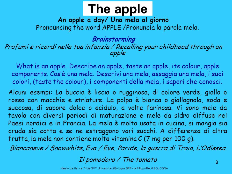 An apple a day/ Una mela al giorno
