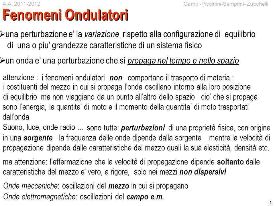 A.A. 2011-2012 Cambi-Piccinini-Semprini- Zucchelli. Fenomeni Ondulatori.