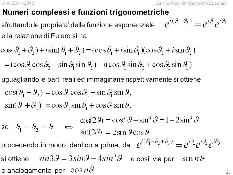 Numeri complessi e funzioni trigonometriche
