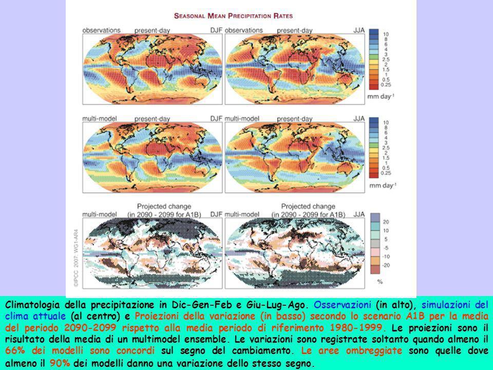 Climatologia della precipitazione in Dic-Gen-Feb e Giu-Lug-Ago