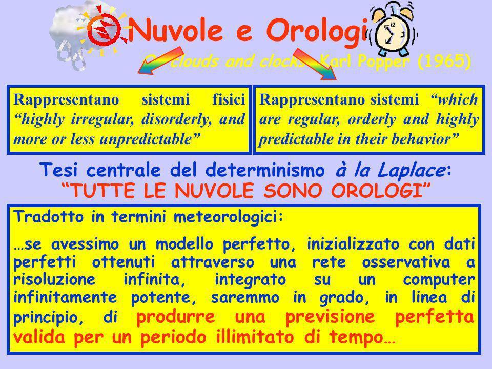 Nuvole e Orologi Tesi centrale del determinismo à la Laplace: