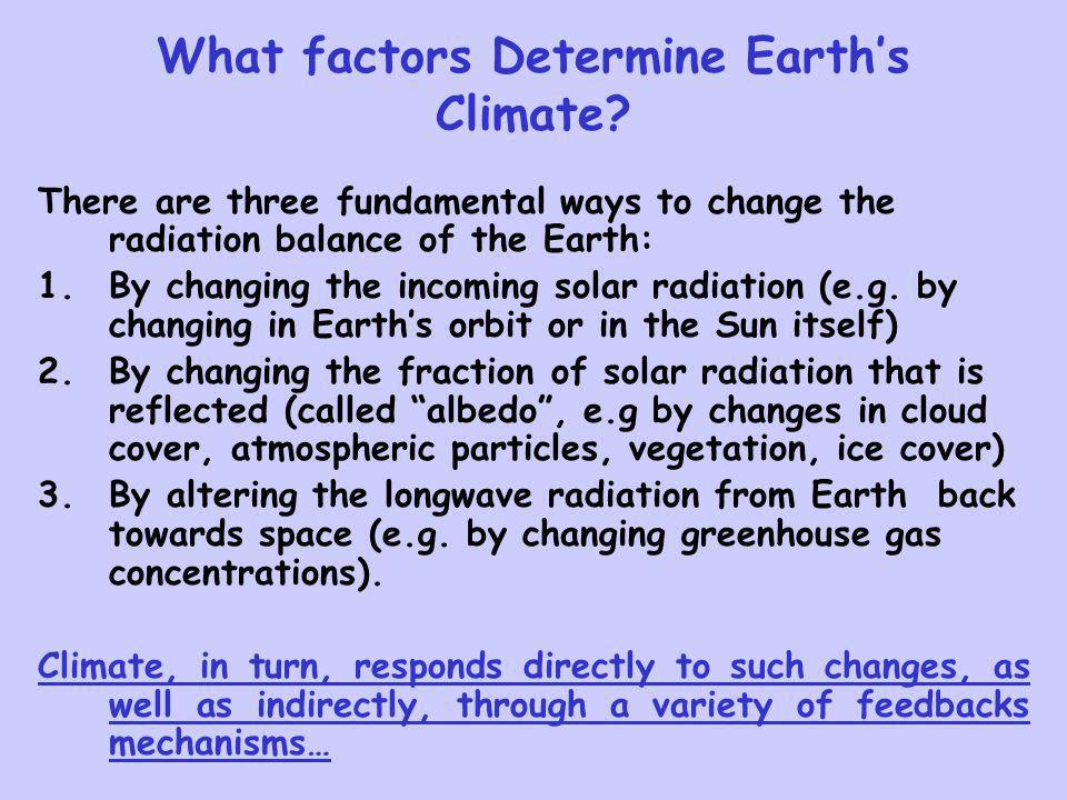 What factors Determine Earth's Climate