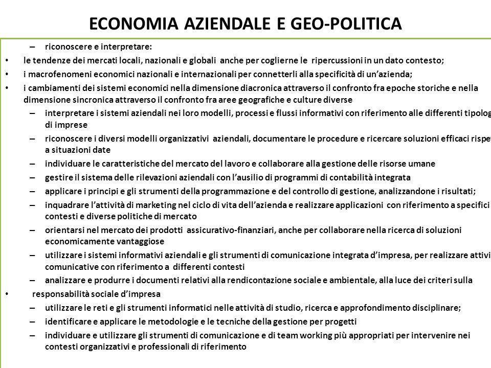 ECONOMIA AZIENDALE E GEO-POLITICA