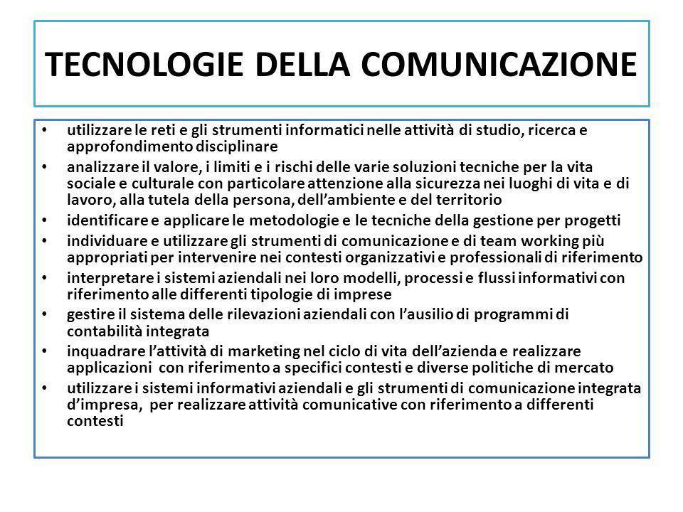 TECNOLOGIE DELLA COMUNICAZIONE