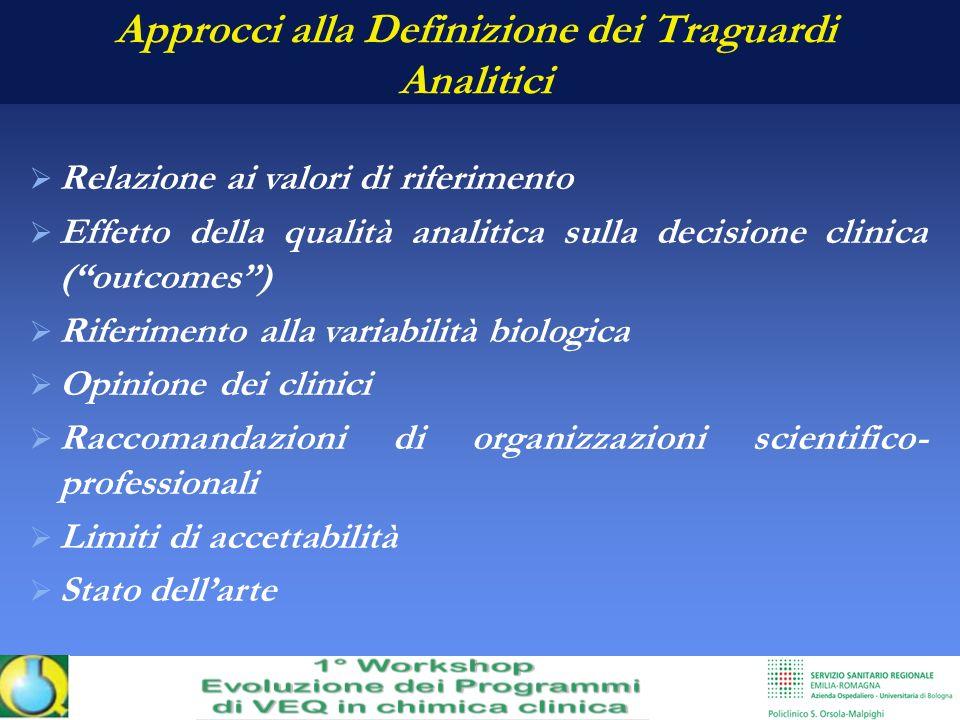 Approcci alla Definizione dei Traguardi Analitici