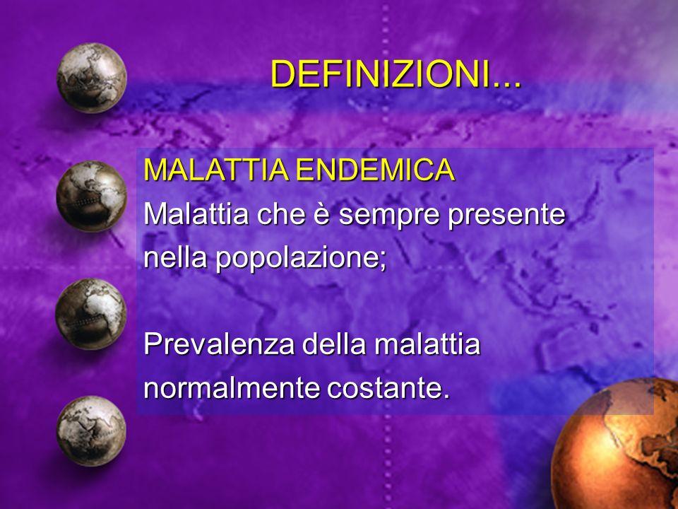 DEFINIZIONI... MALATTIA ENDEMICA Malattia che è sempre presente