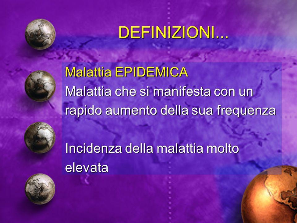 DEFINIZIONI... Malattia EPIDEMICA Malattia che si manifesta con un