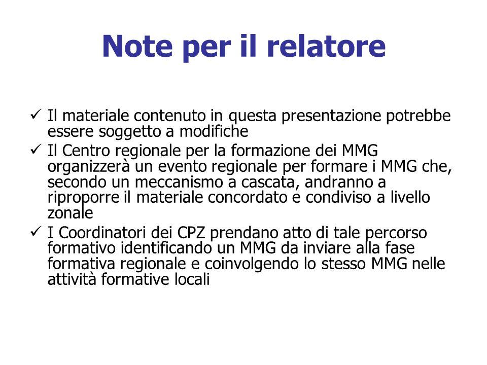 Note per il relatoreIl materiale contenuto in questa presentazione potrebbe essere soggetto a modifiche.