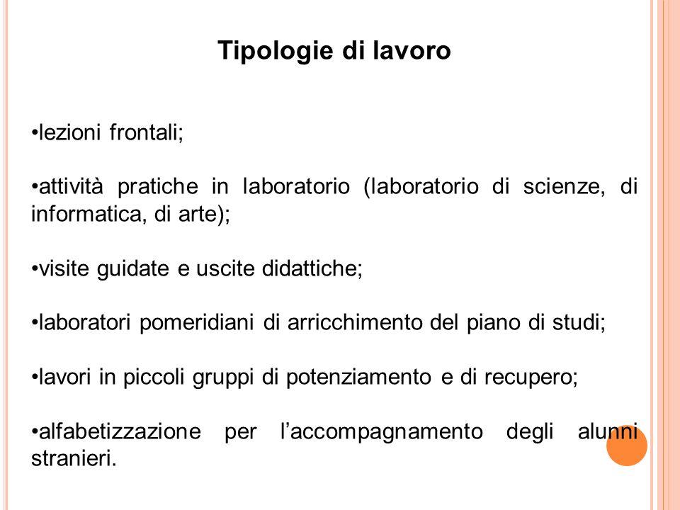 Tipologie di lavoro lezioni frontali;